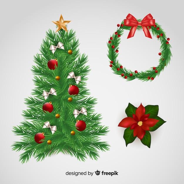 クリスマスデコレーションセット 無料ベクター