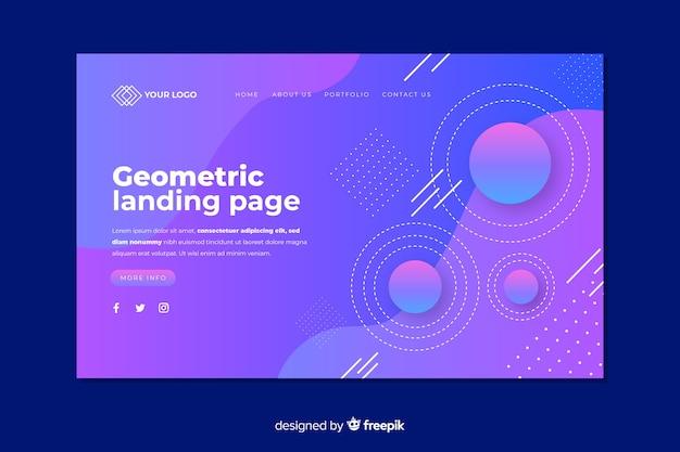 幾何学的図形を含むランディングページの概念 無料ベクター