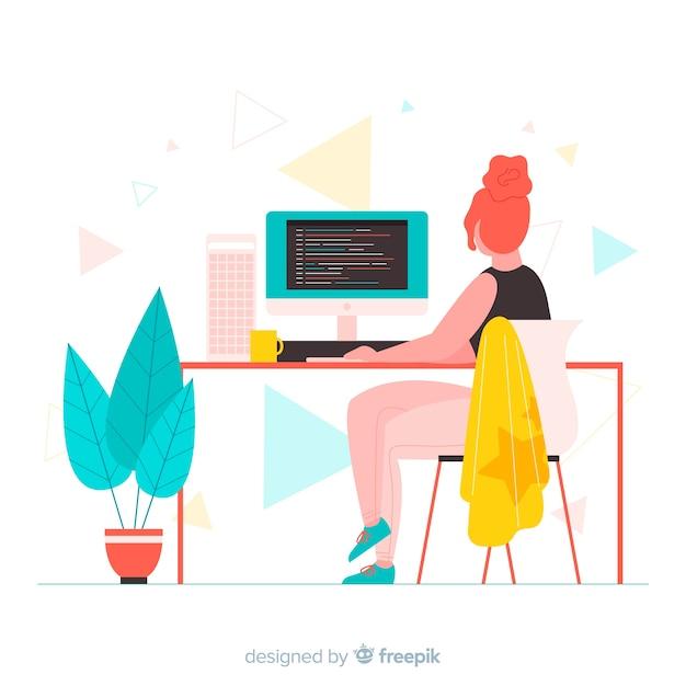 Программист в мультяшном стиле работает Бесплатные векторы