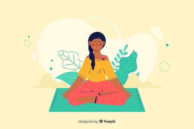 ランディングページの瞑想の概念 無料ベクター