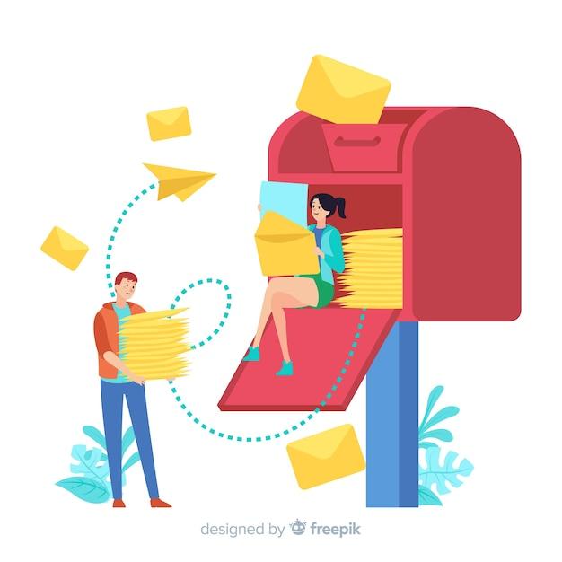 Концепция почтового ящика для целевой страницы Бесплатные векторы