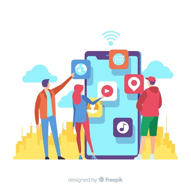Концепция мобильных приложений для целевой страницы Бесплатные векторы