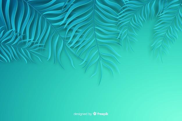 Синие листья фон в стиле бумаги Бесплатные векторы