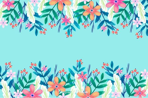 Красочные нарисованные цветы фон Бесплатные векторы