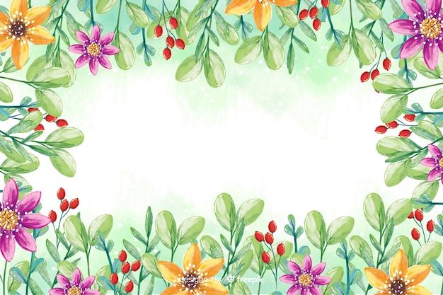 色とりどりの花の背景を持つ水彩画フレーム 無料ベクター