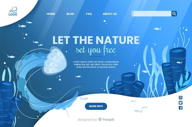 自然があなたに無料のウェブテンプレートを設定させます 無料ベクター