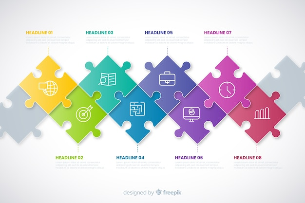 Хронология инфографики концепция с кусочками головоломки Бесплатные векторы