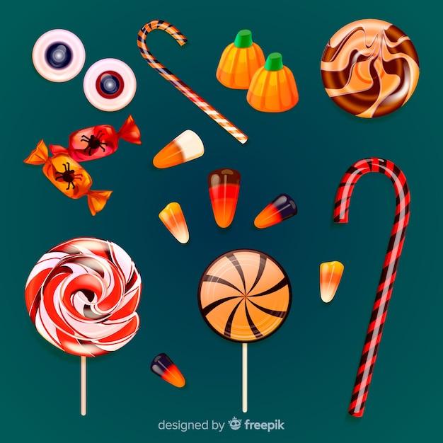 Реалистичная коллекция вкусных конфет на хэллоуин Бесплатные векторы