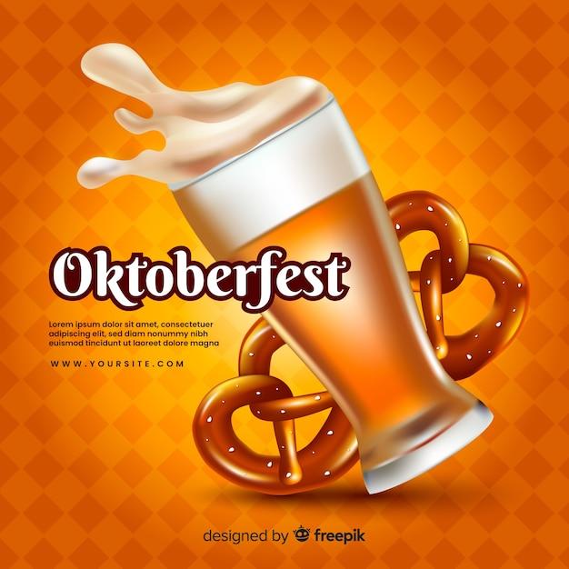 ビールとブレッツェルと現実的なオクトーバーフェストコンセプト 無料ベクター