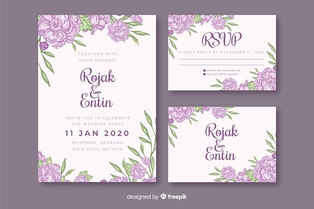 紫の花の結婚式の招待状のテンプレート 無料ベクター