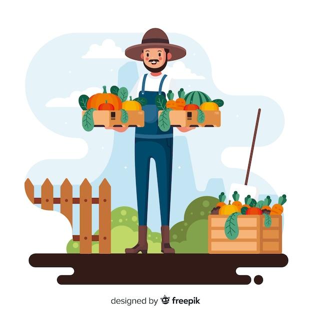 野菜がいっぱい入ったかごを持つ農業人 無料ベクター
