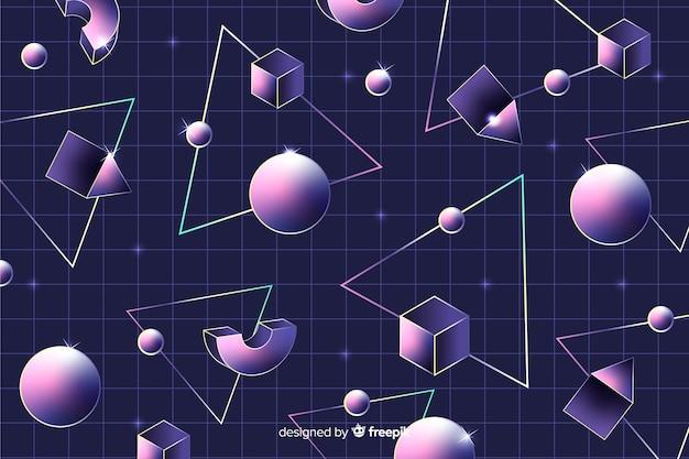 球とレトロな幾何学的な背景 無料ベクター