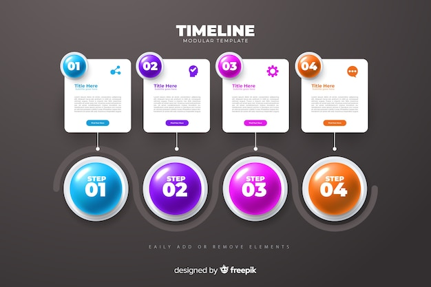 Шаблон графика времени развития инфографики маркетинга Бесплатные векторы