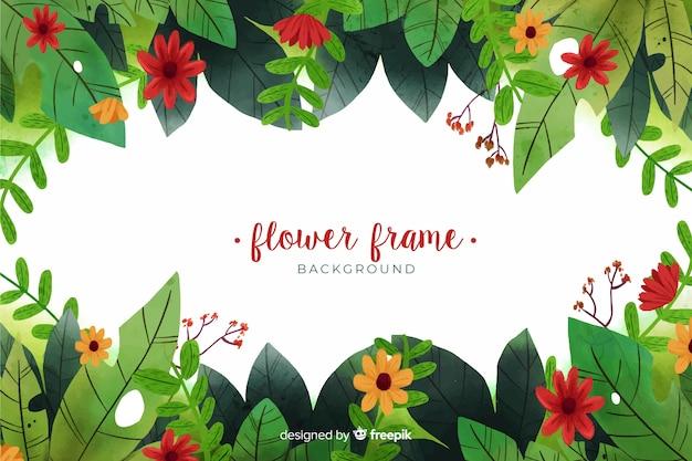 水彩花のフレームの背景 無料ベクター