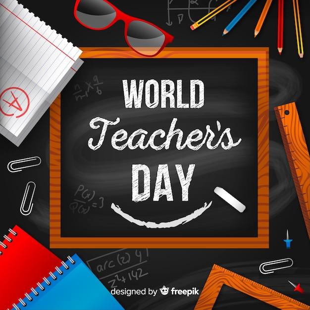 現実的な教師の日の背景 無料ベクター
