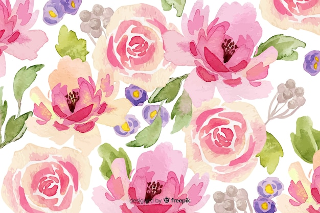 ピンクの水彩花の背景 無料ベクター