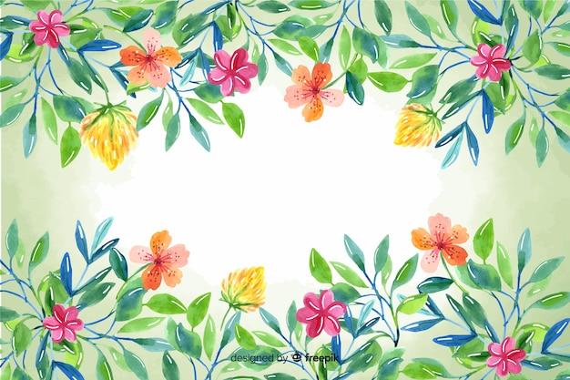 Природа ручной росписью цветочная рамка фон Бесплатные векторы