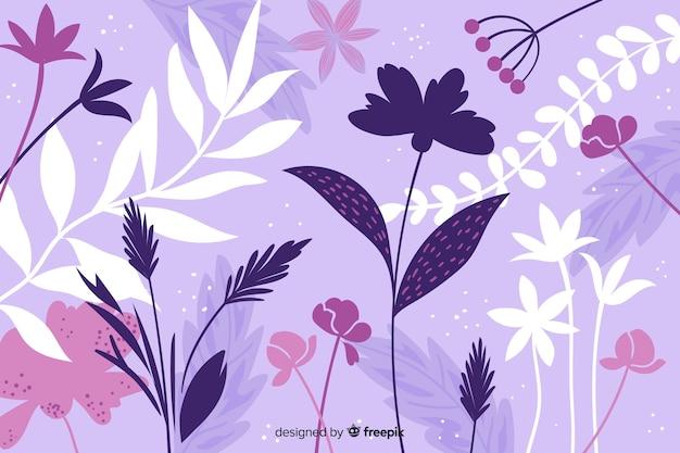 手描き紫抽象的な花の背景 無料ベクター