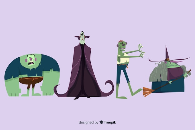 ハロウィーンキャラクターコレクションのモンスター 無料ベクター