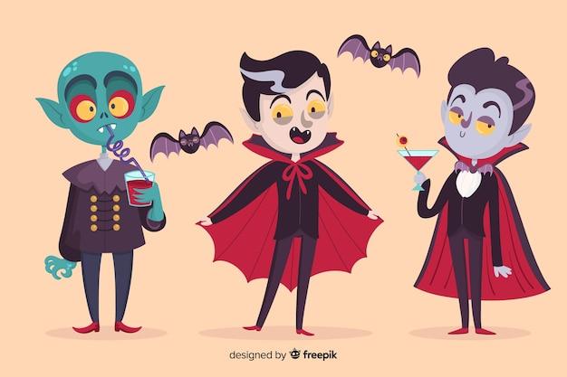 さまざまなドラキュラの吸血鬼のキャラクター 無料ベクター