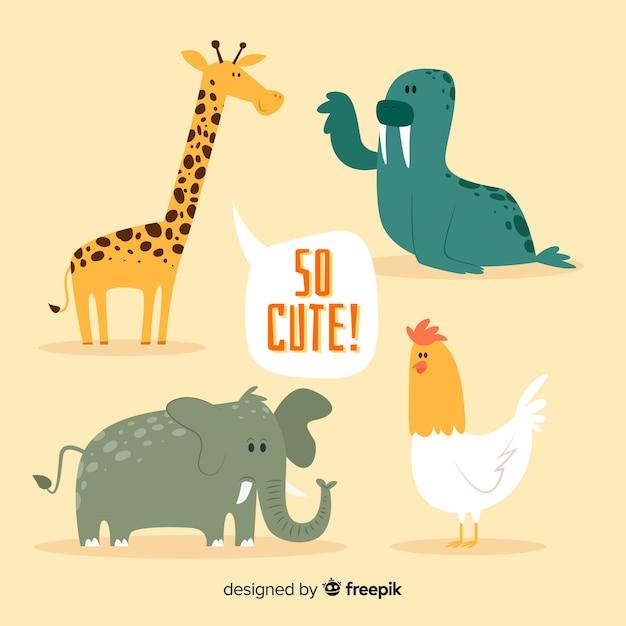 オレンジ色の背景を持つかわいい動物コレクション ベクター画像