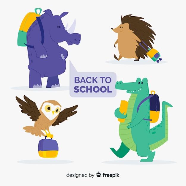 Снова в школу коллекция животных с рюкзаком Бесплатные векторы