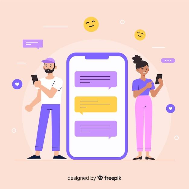 Концепция приложения знакомств для людей, чтобы найти друзей и любовь Бесплатные векторы