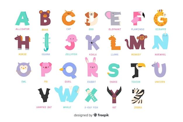 Разнообразие милых животных, образующих алфавит Бесплатные векторы