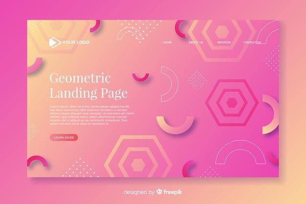 幾何学的な側面を持つカラフルなグラデーションランディングページ 無料ベクター