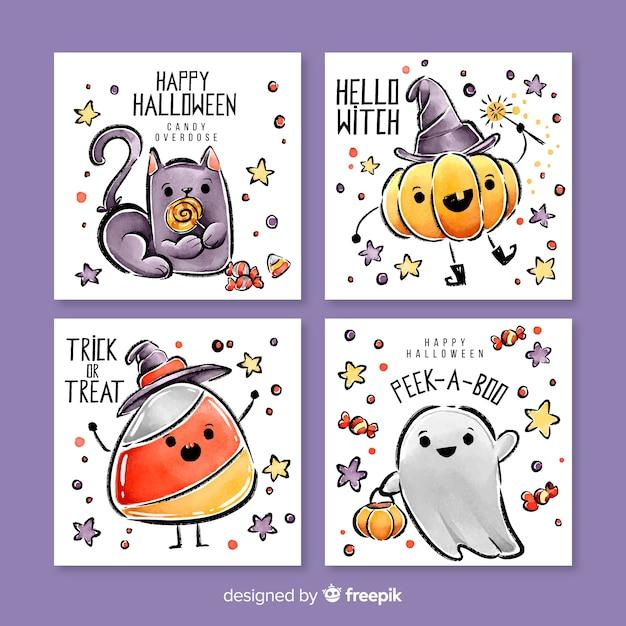 Симпатичная коллекция акварельной открытки на хэллоуин Бесплатные векторы