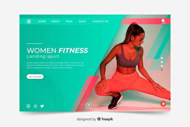 女性フィットネススポーツのランディングページ 無料ベクター
