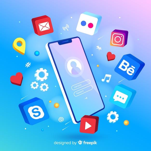 Мобильный телефон в окружении красочных иконок приложений Бесплатные векторы
