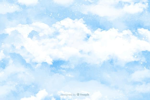 水彩雲の背景 無料ベクター
