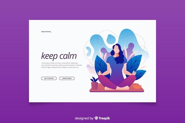 ランディングページの落ち着いた瞑想コンセプトを維持する 無料ベクター