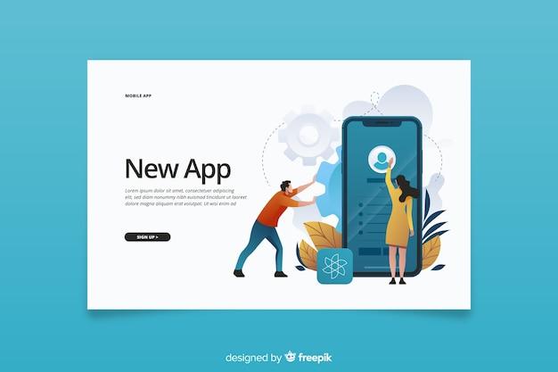 携帯電話のランディングページ用の新しいアプリ 無料ベクター