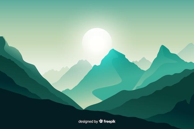 緑の山の風景の背景 無料ベクター