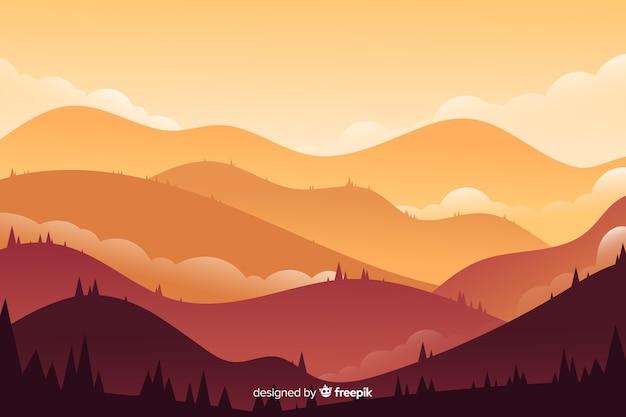 Красочный пейзаж гор Бесплатные векторы
