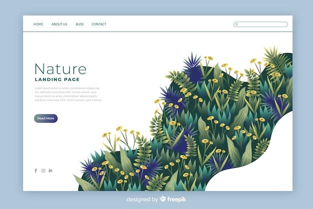 Красочная природа шаблон страницы посадки Бесплатные векторы