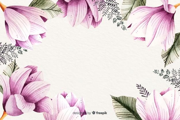花の水彩画フレームの背景 無料ベクター