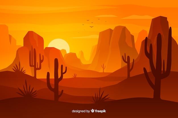 Пустынный ландшафт с дюнами и кактусами Бесплатные векторы