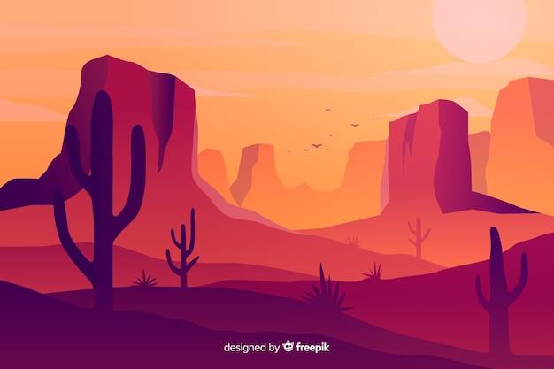 Горячий пустынный пейзаж фон с кактусами Бесплатные векторы
