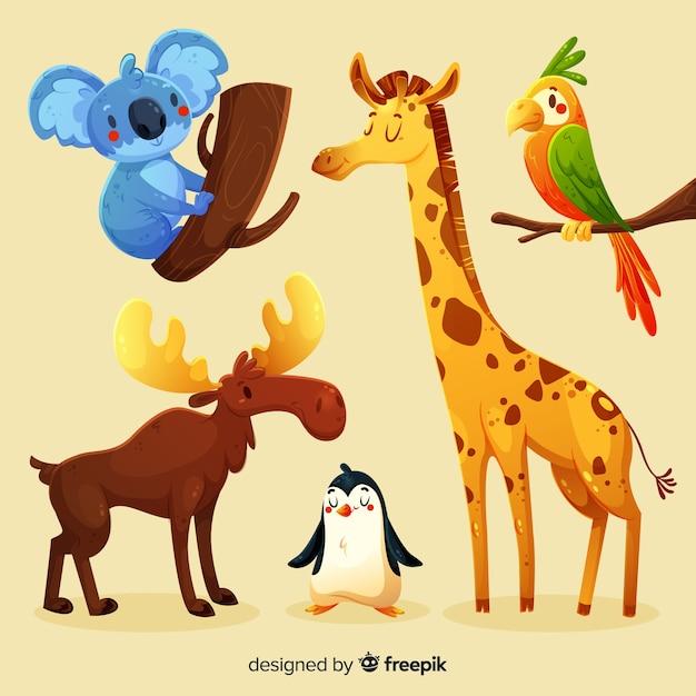 さまざまな環境からのかわいい動物コレクション 無料ベクター