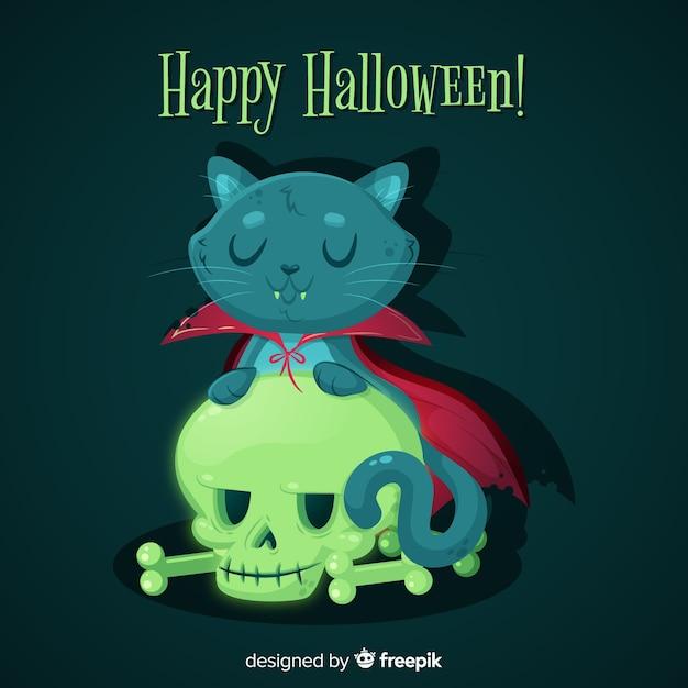 かわいいハロウィーン黒猫のフラットなデザイン 無料ベクター