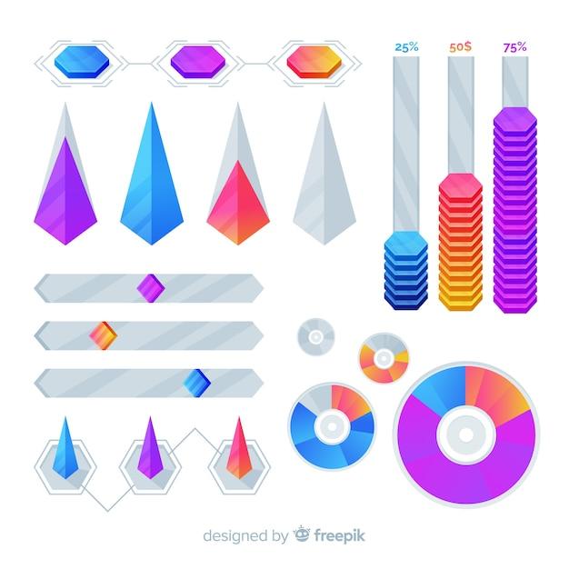 Шаблон коллекции геометрических маркетинга инфографики Бесплатные векторы