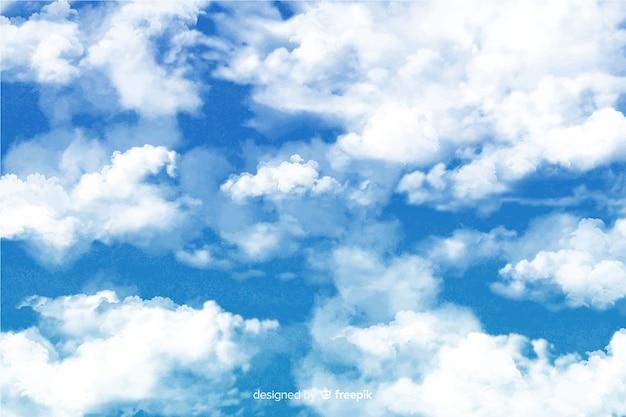 Увлекательный фон акварелью облака Бесплатные векторы