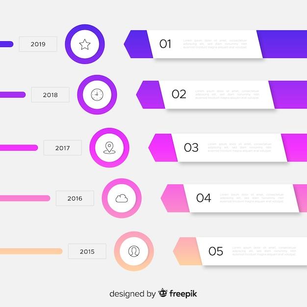 Шаблон диаграммы шагов инфографики маркетинга Бесплатные векторы