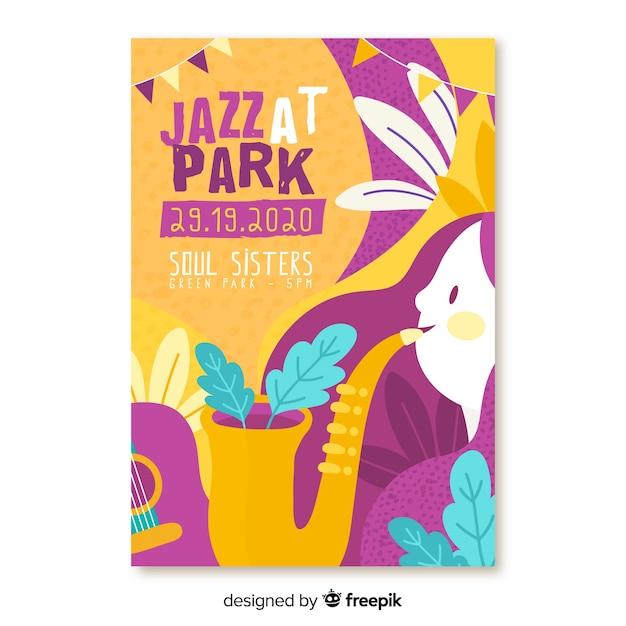 Нарисованный от руки музыкальный джаз в парке фестиваля плакат Бесплатные векторы