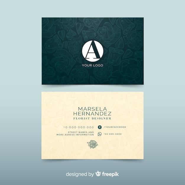 Элегантный шаблон визитной карточки с цветами Бесплатные векторы