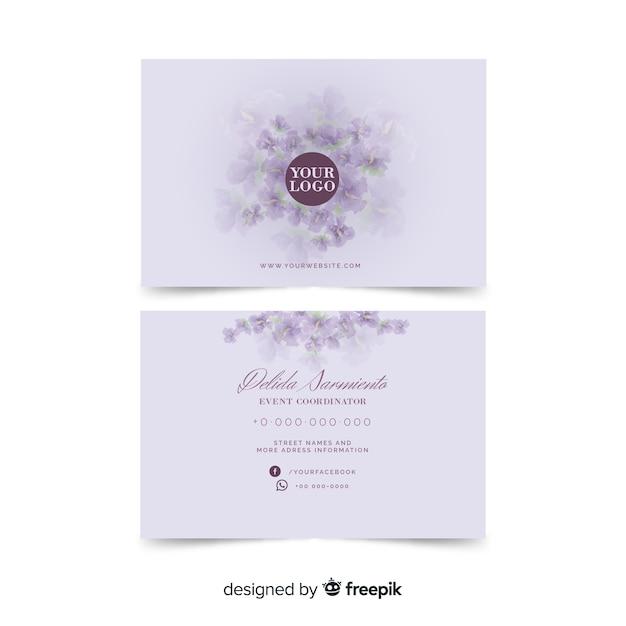 水彩の白い花名刺テンプレート 無料ベクター