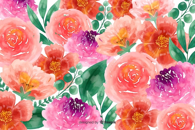 Весенняя акварель цветут цветы фон Бесплатные векторы